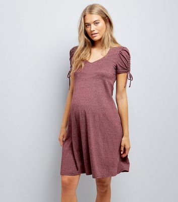 Maternity Burgundy Marl Ruched Tie Sleeve Dress