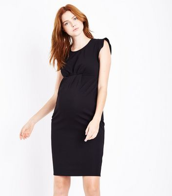 Maternity Black Cap Sleeve Dress