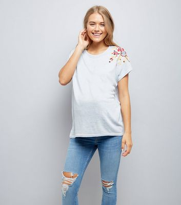 Maternity Grey Floral Embroidered T-Shirt