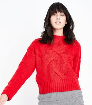 Red High Neck Cable Knit Jumper