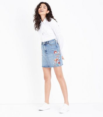 Blue Acid Wash Floral Embroidered Denim Skirt