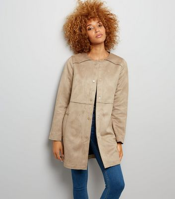 Stone Suedette Collarless Longline Jacket