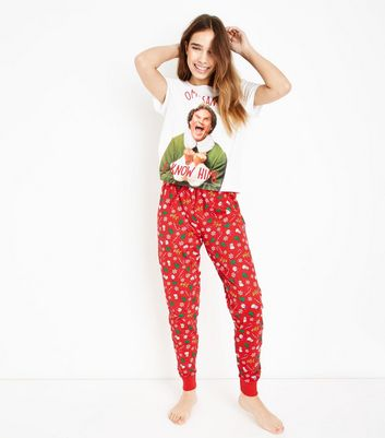Red Elf Santa I Know Him Christmas Pyjama Set