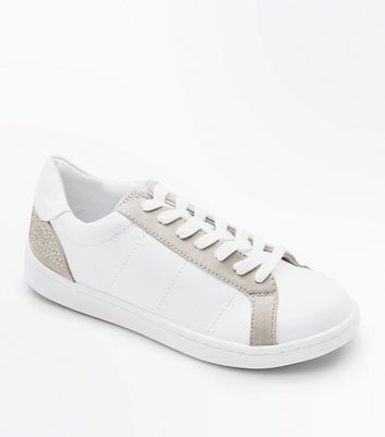 White Diamante Embellished Lace Up Trainers