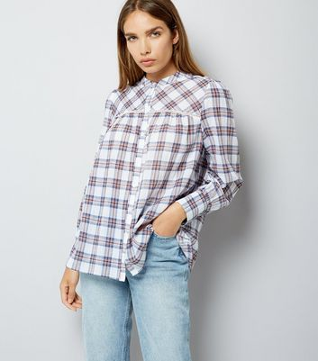 White Check Print Crochet Trim Shirt