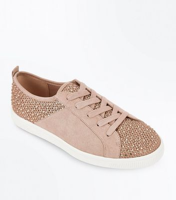Pink Diamante Mesh Lace Up Trainers