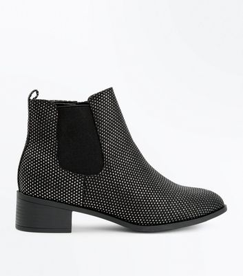 Wide Fit Black Suedette Chelsea Boots