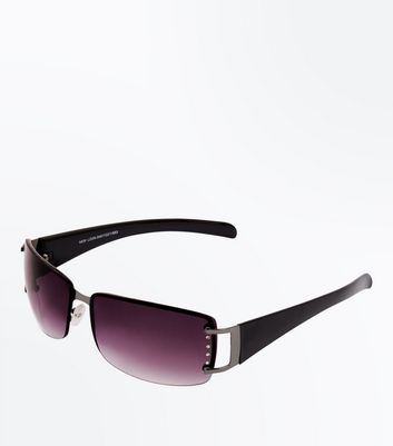 Black Diamanté Edge Rimless Sunglasses