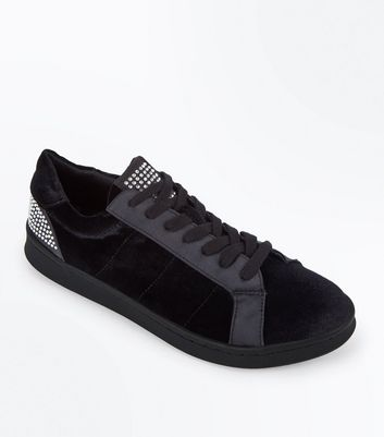 Black Velvet Diamante Embellished Lace Up Trainers