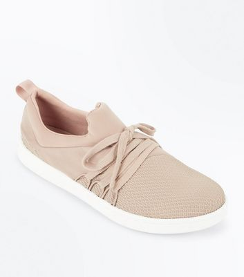 Nude Fishnet Front Lace Up Jogging Trainers