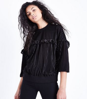 Blue Vanilla Black Frill Trim Striped Jumper