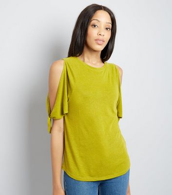 Lime Green Tie Cold Shoulder T-Shirt