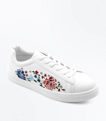 White Embroidered Stud Detail Trainers
