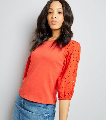 Red Broderie Sleeve T-Shirt