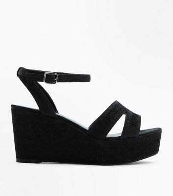 Wide Fit Black Glitter Platform Wedge Heels