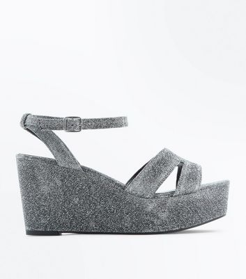 Wide Fit Silver Glitter Platform Wedge Heels