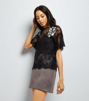 Black Floral Embroidered Lace T-Shirt