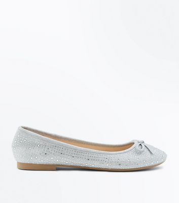 Silver Diamante Embellished Ballet Pumps