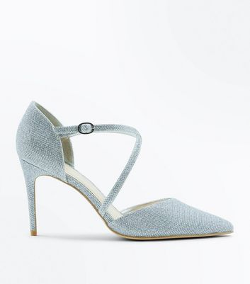 Silver Glitter Cross Strap Pointed Heels