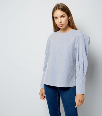 Tall Blue Stripe Puff Sleeve Top