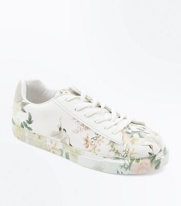 White Floral Print Lace Up Trainers