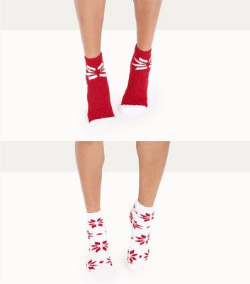 2 Pack Red Snowflake Pattern Slipper Socks