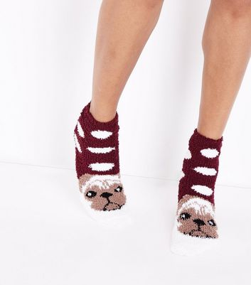 Red Pug Pattern Slipper Socks