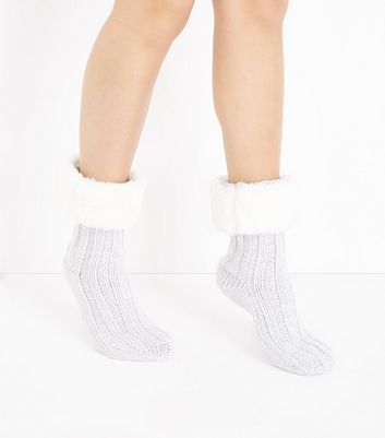 Pale Grey Faux Fur Trim Slipper Socks
