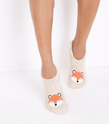 Cream Fox Knitted Slipper Socks