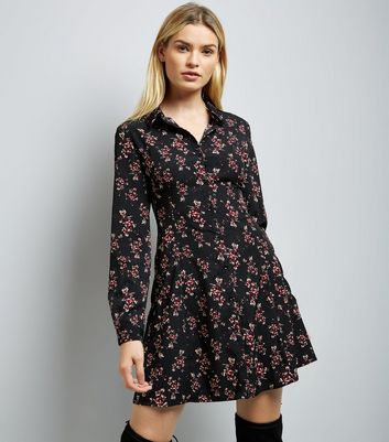Black Floral Lace Up Back Shirt Dress