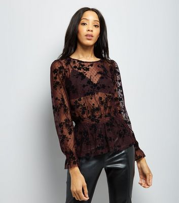 Burgundy Shirred Waist Flocked Mesh Top