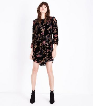 Black Floral Velvet Burnout Tunic Dress