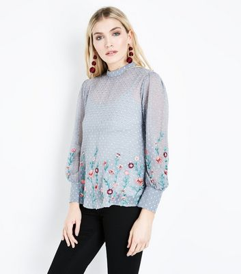 Pale Grey Spot Chiffon Floral Embroidered Blouse