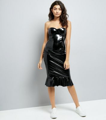 Parisian Black Leather-Look Frill Dress