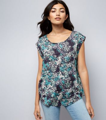 Apricot Navy Butterfly Print Roll Sleeve Top