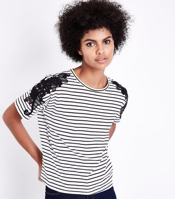 White Stripe Lace Applique T-Shirt