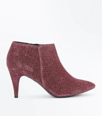 Bright Pink Glitter Heeled Shoe Boots