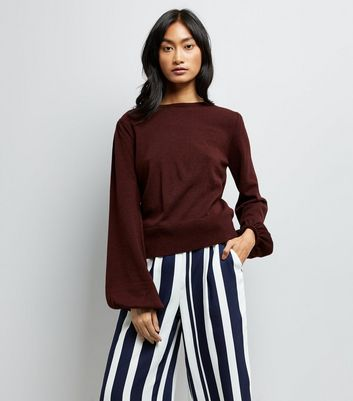 Burgundy Balloon Sleeve Jumper