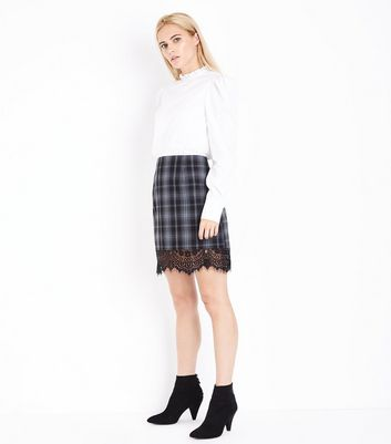 Grey Check Lace Hem Mini Skirt