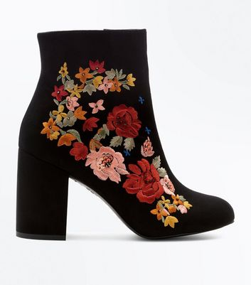 Black Suedette Embroidered Block Heel Boots