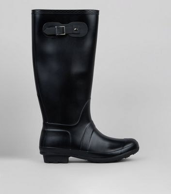 Black Knee High Wellies by New Look