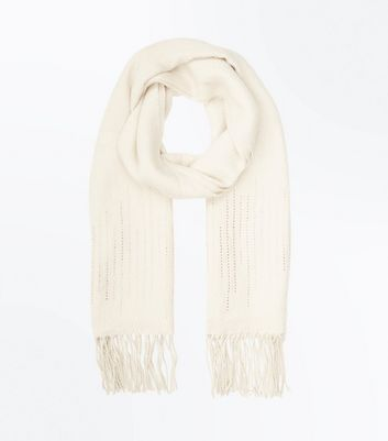 Cream Diamante Embellished Fringed Scarf