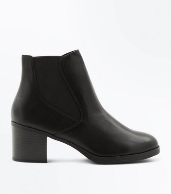 Black Leather Comfort Block Heel Chelsea Boots