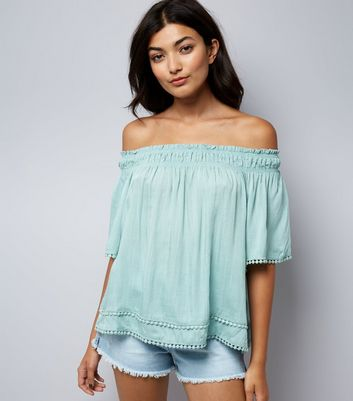 Apricot Mint Green Lace Trim Bardot Neck Top