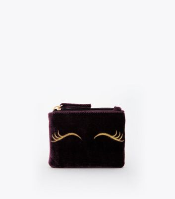 Purple Velvet Embroidered Eyes Zip Top Purse
