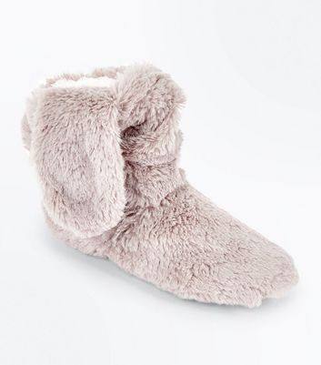 Grey Fluffy Bunny Ear Slipper Boots