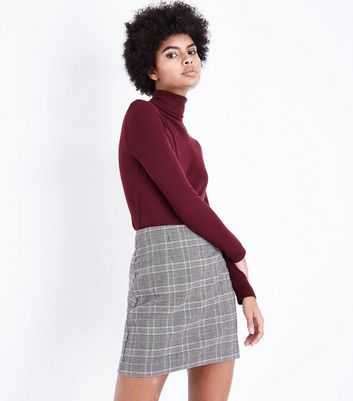 Brown Prince of Wales Check Mini Skirt