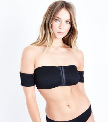 Black Hook And Eye Bardot Bikini Top