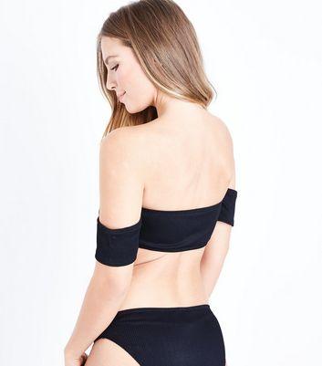 New Look - Haut de bikini noir à col Bardot et fermeture par agrafes - 5