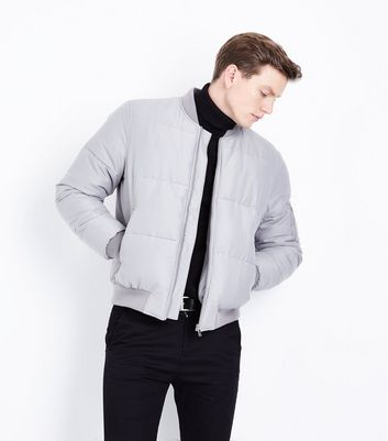 Pale Grey Puffer Bomber Jacket